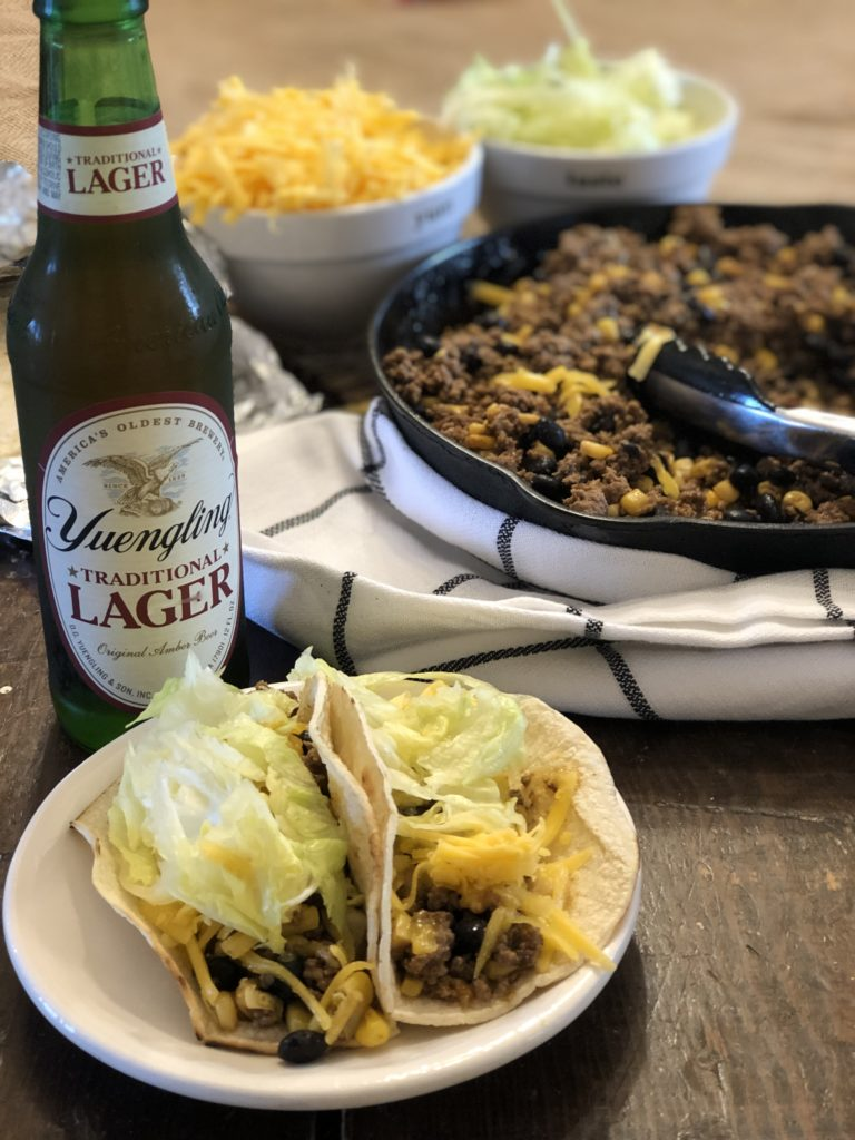 Easy Loaded Skillet Taco Meat from Farmwife Feeds is a one pan meal loaded with meat, veggie and beans for an easy busy night meal for the family. #onepan #taco #mexican