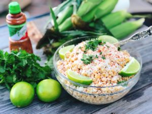 Mexican Street Corn Salad from Farmwife Feeds has all the original flavors of Mexican Street Corn but can be made up ahead and served when you're ready. #mexicanstreetcorn #salad #sweetcorn