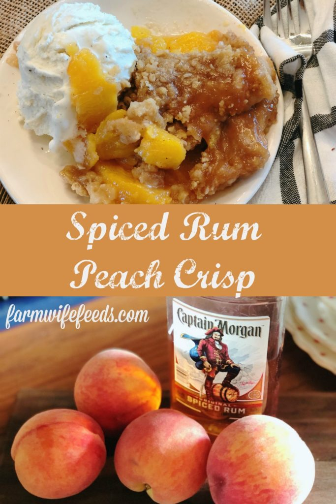 Spiced Rum Peach Crisp from Farmwife Feeds is the perfect fresh peach dessert with a spicy warmness that pairs perfect with ice cream. #peachcrisp #peaches #fruit