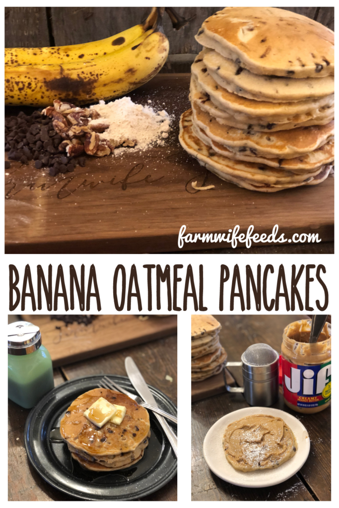 """Banana Oatmeal Pancakes from Farmwife Feeds, a simple """"healthy"""" pancake with no added sugar, great any time of the day. #glutenfree #pancake"""
