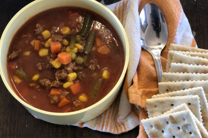 Easy Hamburger Vegetable Soup from Farmwife Feeds, a hearty quick stovetop soup for an easy meal. #soup #vegetable #hamburger #groundbeef