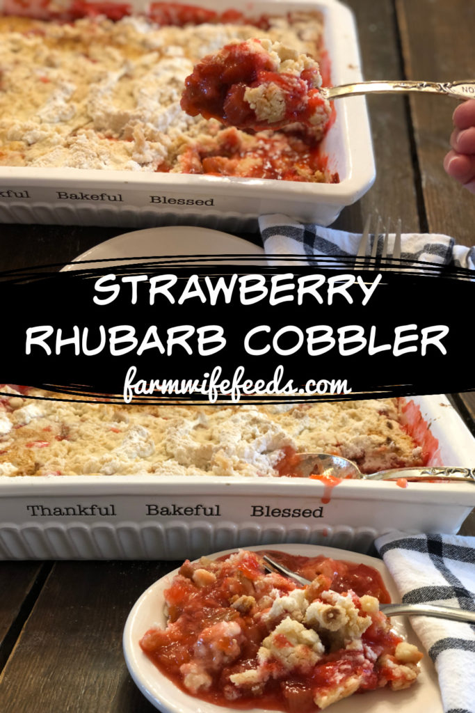 Strawberry Rhubarb Cobbler from Farmwife Feeds, an easy church cookbook dessert that you assemble right in the baking dish. #rhubarb #strawberry #dessert