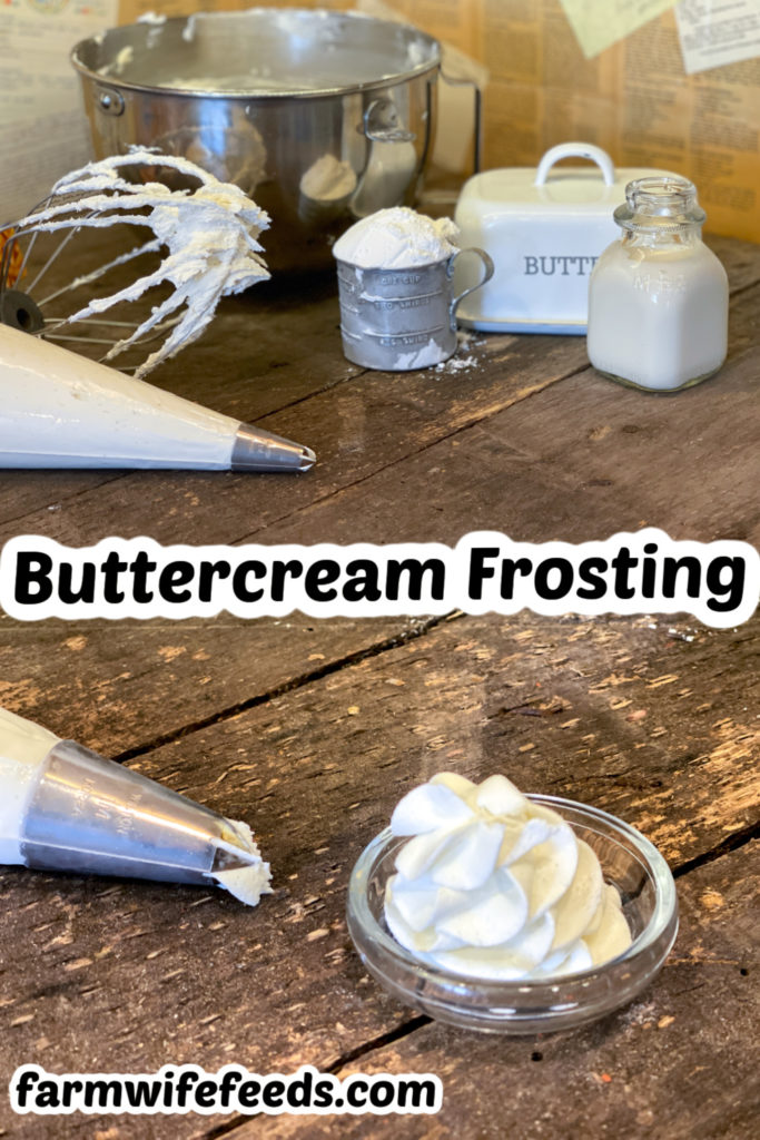 Classic Buttercream Frosting from Farmwife Feeds, creamy rich icing made with 4 simple ingredients that come together in less than 10 minutes. #frosting #buttercream #easyrecipe #icing