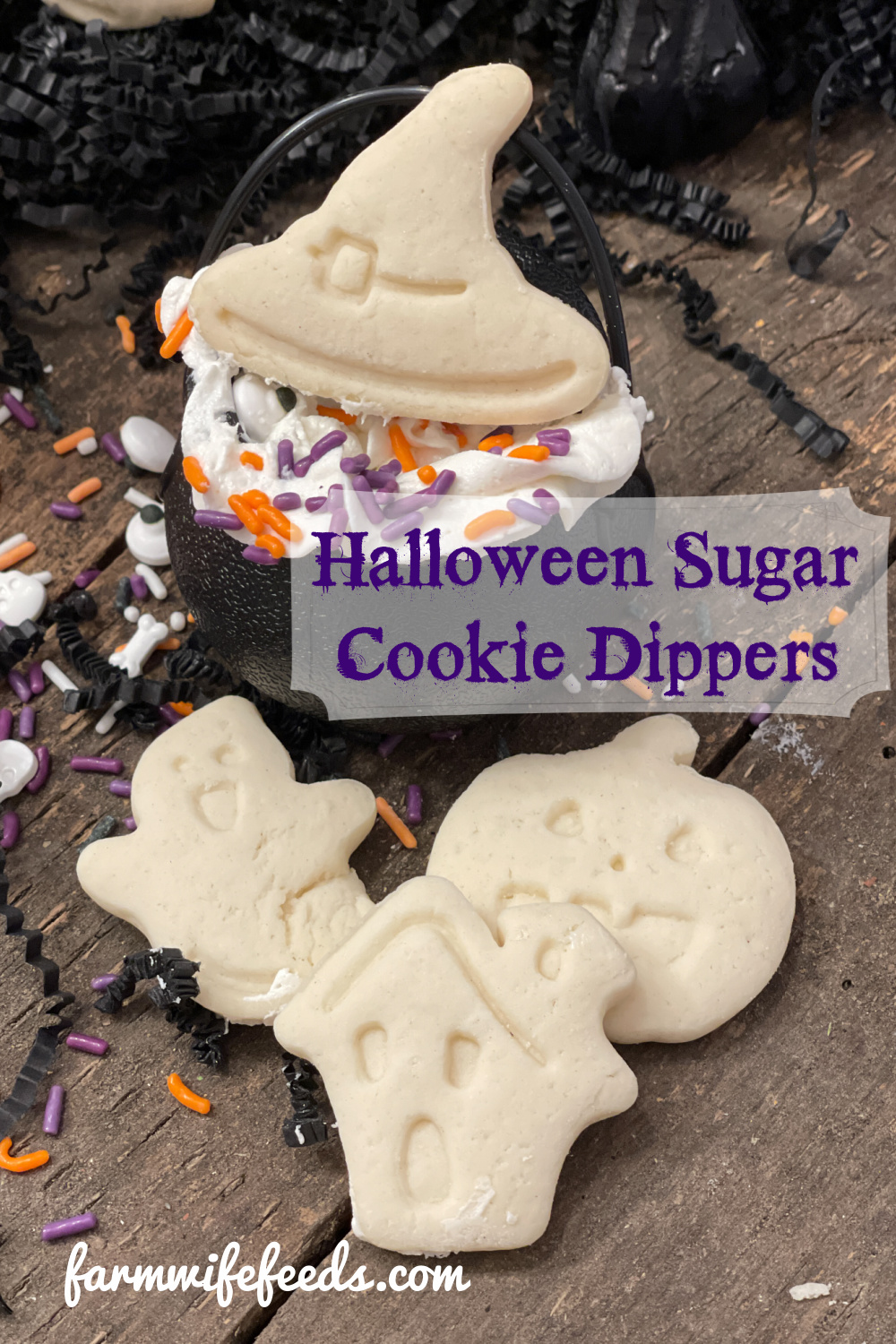 Halloween Sugar Cookie Dippers from Farmwife Feeds. A super easy fun treat for parties, classrooms or a treat for the family. Easy to use plunge cookie cutters and basic buttercream. #halloween #treats #cookiedippers